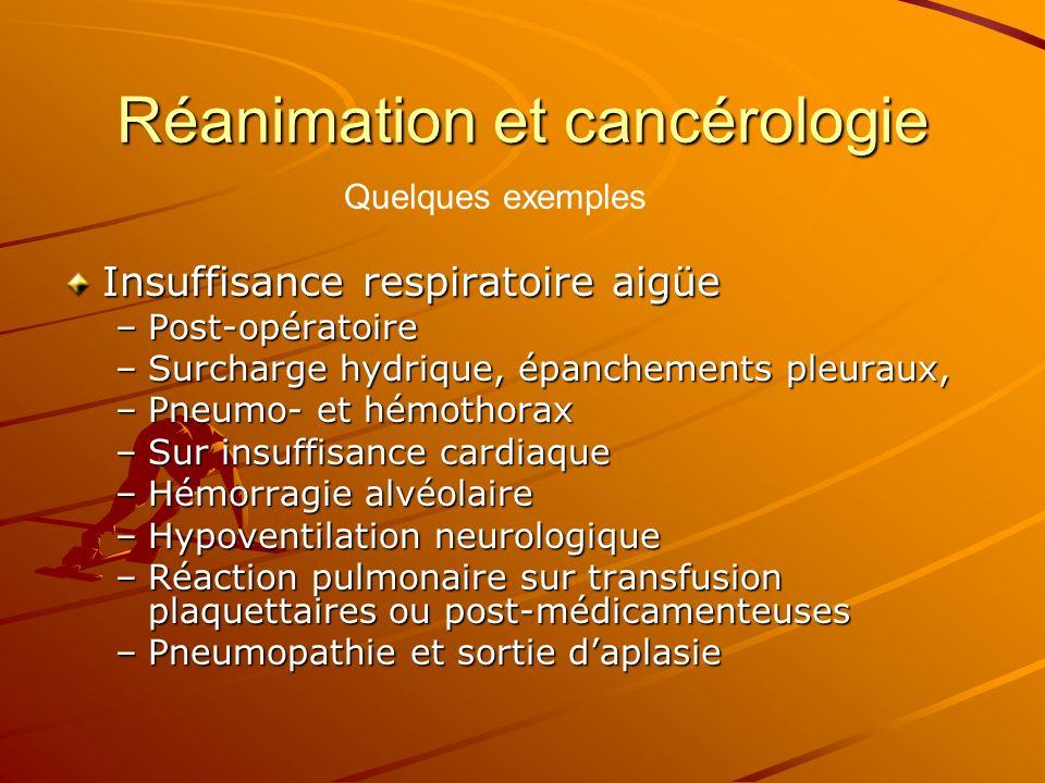Réanimation et cancérologie Insuffisance respiratoire aigüe –Post-opératoire –Surcharge hydrique, épanchements pleuraux, –Pneumo- et hémothorax –Sur i
