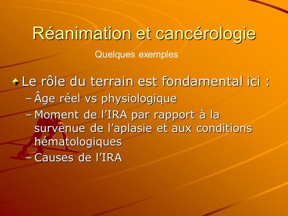 Réanimation et cancérologie Le rôle du terrain est fondamental ici : –Âge réel vs physiologique –Moment de lIRA par rapport à la survenue de laplasie