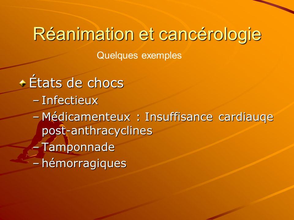 Réanimation et cancérologie États de chocs –Infectieux –Médicamenteux : Insuffisance cardiauqe post-anthracyclines –Tamponnade –hémorragiques Quelques