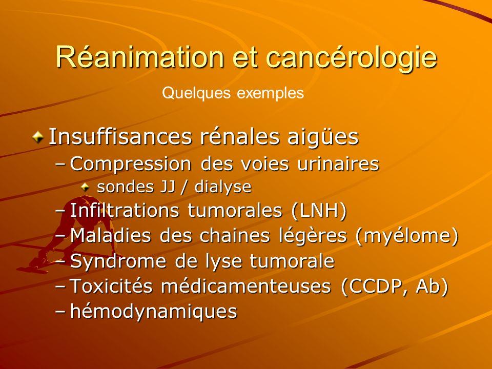 Réanimation et cancérologie Insuffisances rénales aigües –Compression des voies urinaires sondes JJ / dialyse sondes JJ / dialyse –Infiltrations tumor