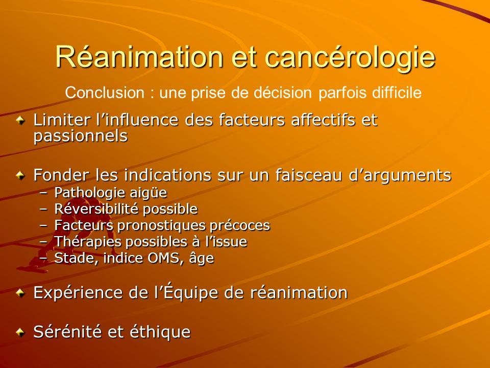 Réanimation et cancérologie Limiter linfluence des facteurs affectifs et passionnels Fonder les indications sur un faisceau darguments –Pathologie aig