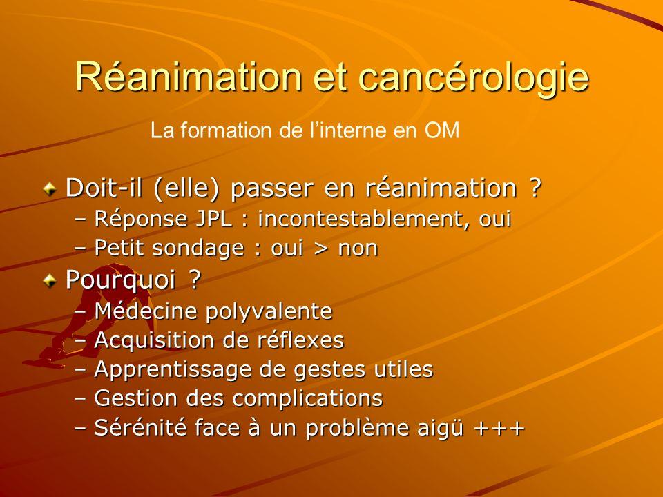 Réanimation et cancérologie Doit-il (elle) passer en réanimation ? –Réponse JPL : incontestablement, oui –Petit sondage : oui > non Pourquoi ? –Médeci