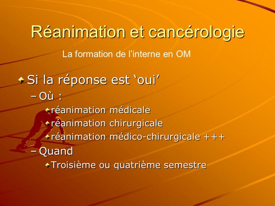 Réanimation et cancérologie Si la réponse est oui –Où : réanimation médicale réanimation chirurgicale réanimation médico-chirurgicale +++ –Quand Trois