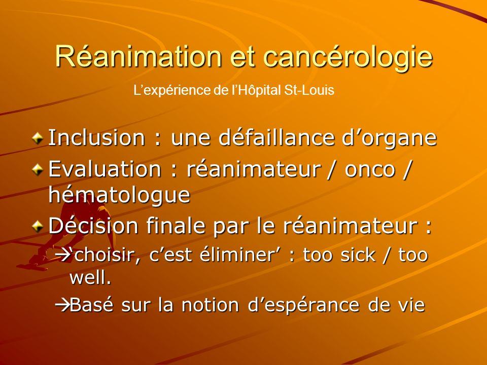 Réanimation et cancérologie Inclusion : une défaillance dorgane Evaluation : réanimateur / onco / hématologue Décision finale par le réanimateur : cho