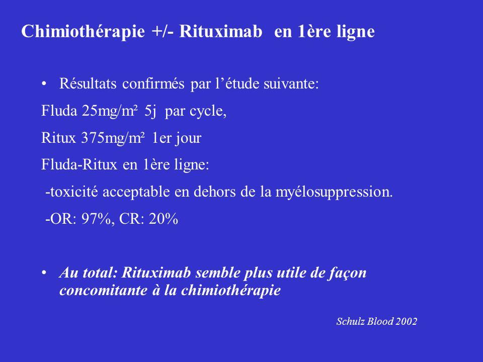 Chimiothérapie +/- Rituximab en 1ère ligne Résultats confirmés par létude suivante: Fluda 25mg/m² 5j par cycle, Ritux 375mg/m² 1er jour Fluda-Ritux en