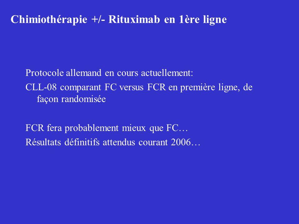 Chimiothérapie +/- Rituximab en 1ère ligne Protocole allemand en cours actuellement: CLL-08 comparant FC versus FCR en première ligne, de façon random