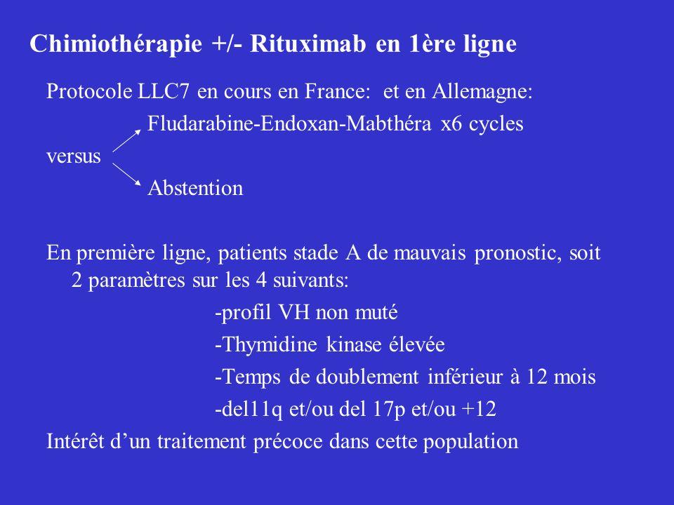 Chimiothérapie +/- Rituximab en 1ère ligne Protocole LLC7 en cours en France: et en Allemagne: Fludarabine-Endoxan-Mabthéra x6 cycles versus Abstentio