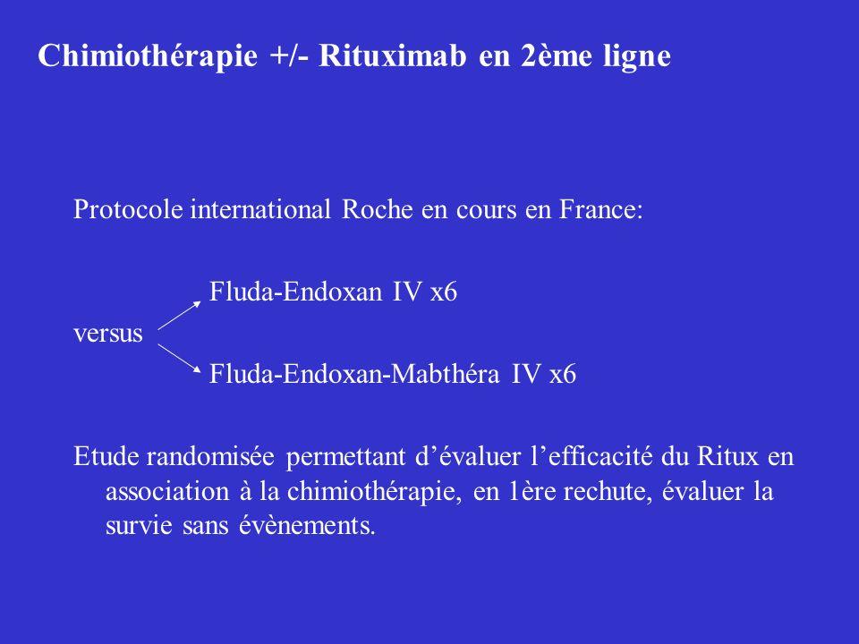 Chimiothérapie +/- Rituximab en 2ème ligne Protocole international Roche en cours en France: Fluda-Endoxan IV x6 versus Fluda-Endoxan-Mabthéra IV x6 E