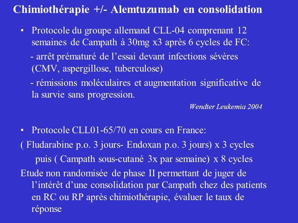 Chimiothérapie +/- Alemtuzumab en consolidation Protocole du groupe allemand CLL-04 comprenant 12 semaines de Campath à 30mg x3 après 6 cycles de FC: