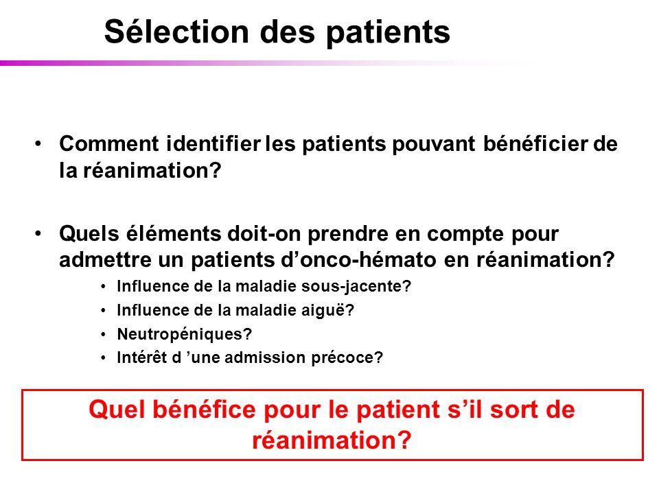 Sélection des patients Comment identifier les patients pouvant bénéficier de la réanimation? Quels éléments doit-on prendre en compte pour admettre un