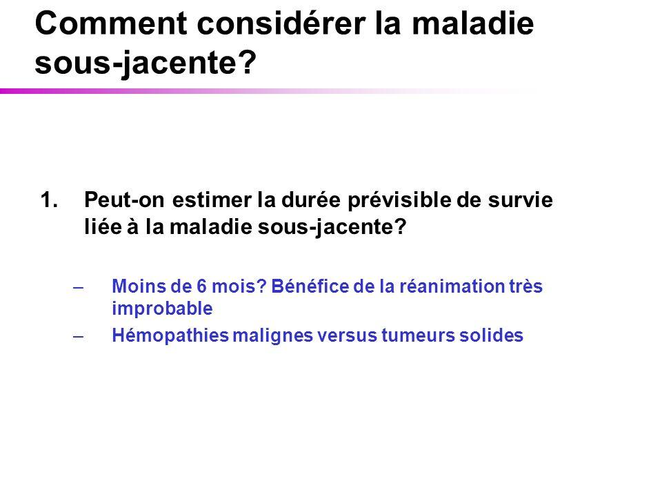 Comment considérer la maladie sous-jacente? 1.Peut-on estimer la durée prévisible de survie liée à la maladie sous-jacente? –Moins de 6 mois? Bénéfice