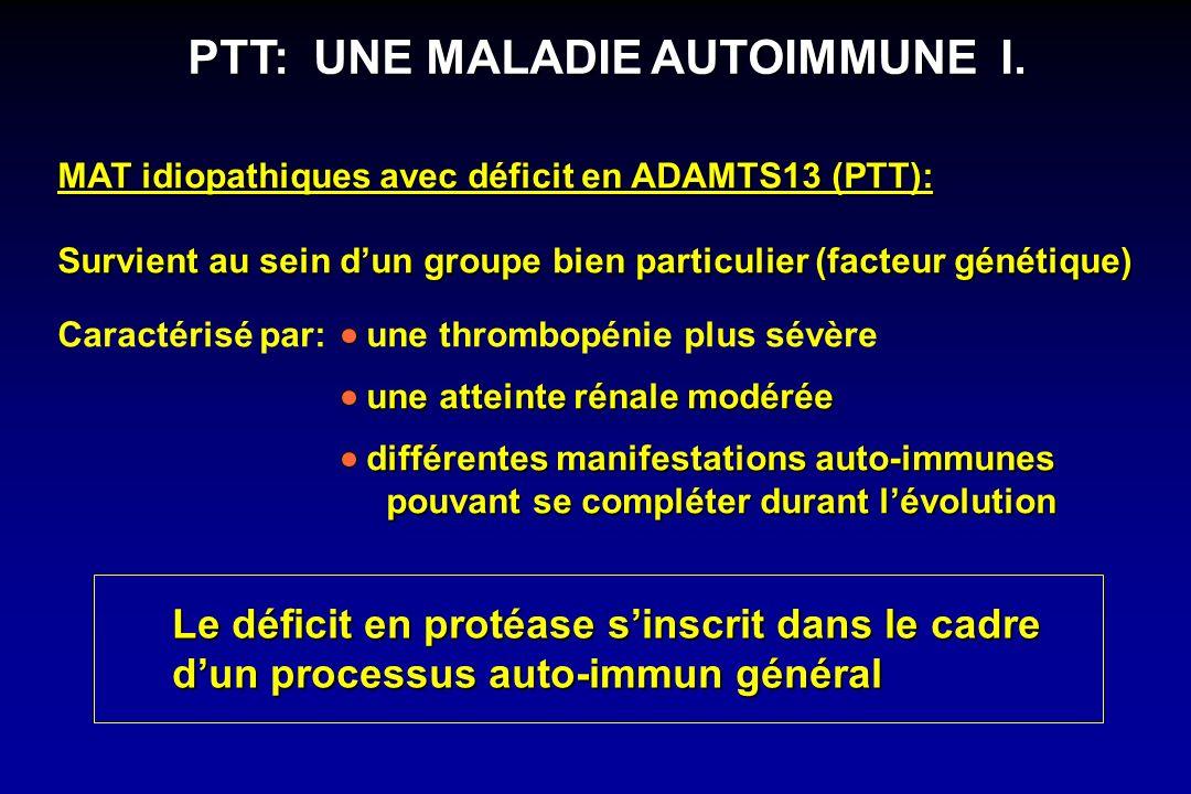 MAT idiopathiques avec déficit en ADAMTS13 (PTT): Survient au sein dun groupe bien particulier (facteur génétique) Le déficit en protéase sinscrit dan