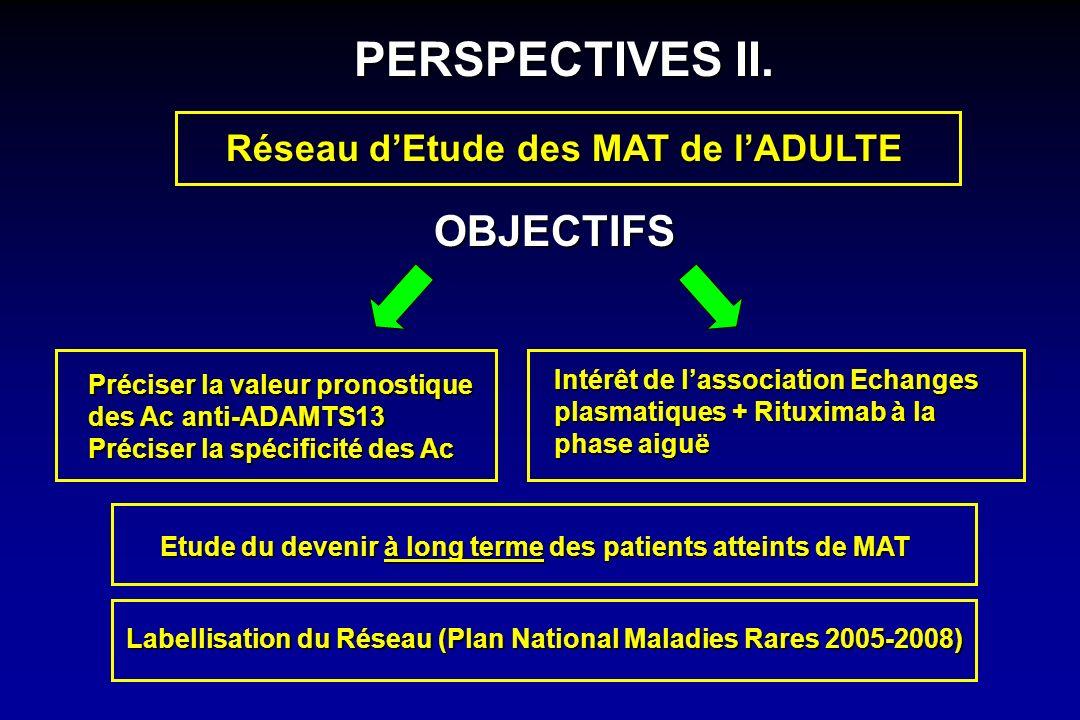 Réseau dEtude des MAT de lADULTE Préciser la valeur pronostique des Ac anti-ADAMTS13 Préciser la spécificité des Ac Intérêt de lassociation Echanges p