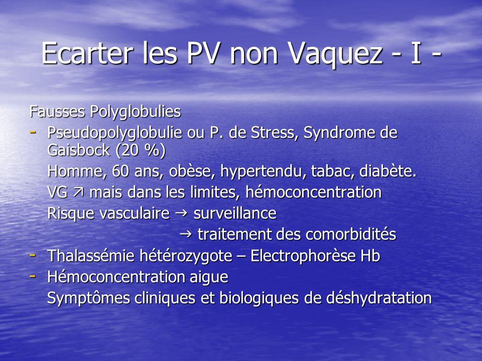 Ecarter les PV non Vaquez - I - Fausses Polyglobulies - Pseudopolyglobulie ou P. de Stress, Syndrome de Gaisbock (20 %) Homme, 60 ans, obèse, hyperten