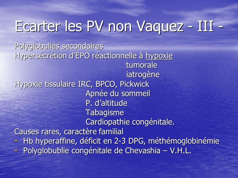 Ecarter les PV non Vaquez - III - Polyglobulies secondaires Hypersécrétion dEPO réactionnelle à hypoxie tumorale tumorale iatrogène iatrogène Hypoxie