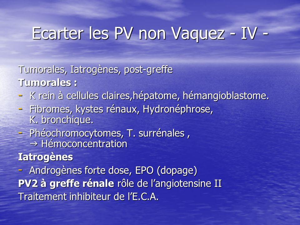 Ecarter les PV non Vaquez - IV - Tumorales, Iatrogènes, post-greffe Tumorales : - K rein à cellules claires,hépatome, hémangioblastome. - Fibromes, ky