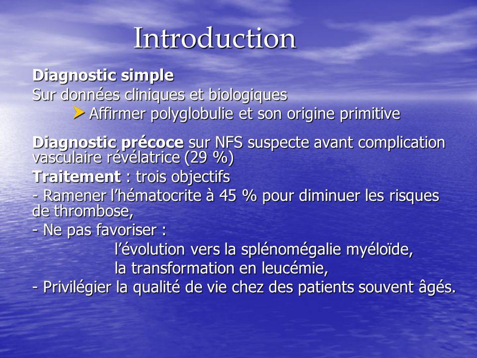 Introduction Diagnostic simple Sur données cliniques et biologiques Affirmer polyglobulie et son origine primitive Affirmer polyglobulie et son origin