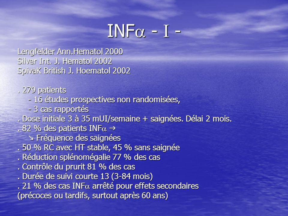 INF - I - Lengfelder Ann.Hematol 2000 Silver Int. J. Hematol 2002 SpivaK British J. Hoematol 2002. 279 patients - 16 études prospectives non randomisé