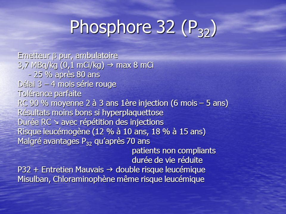 Phosphore 32 (P 32 ) Emetteur pur, ambulatoire 3,7 MBq/kg (0,1 mCi/kg) max 8 mCi - 25 % après 80 ans Délai 3 – 4 mois série rouge Tolérance parfaite R