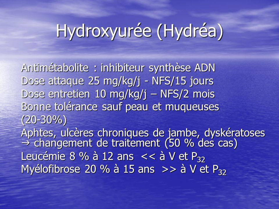 Hydroxyurée (Hydréa) Antimétabolite : inhibiteur synthèse ADN Dose attaque 25 mg/kg/j - NFS/15 jours Dose entretien 10 mg/kg/j – NFS/2 mois Bonne tolé