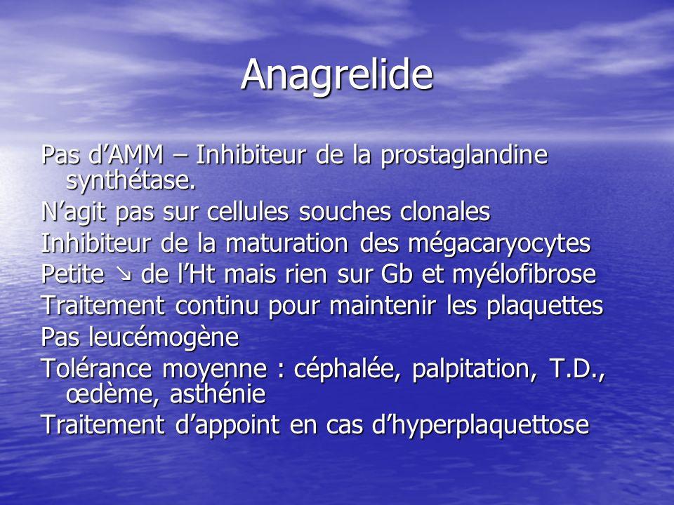 Anagrelide Pas dAMM – Inhibiteur de la prostaglandine synthétase. Nagit pas sur cellules souches clonales Inhibiteur de la maturation des mégacaryocyt