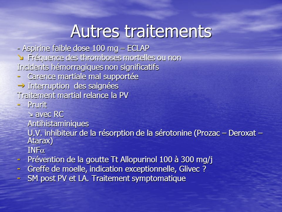 Autres traitements - Aspirine faible dose 100 mg – ECLAP Fréquence des thromboses mortelles ou non Fréquence des thromboses mortelles ou non Incidents