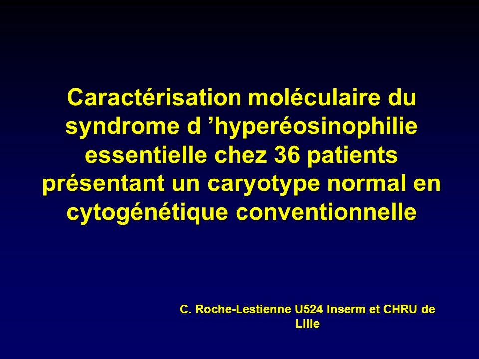 Caractérisation moléculaire du syndrome d hyperéosinophilie essentielle chez 36 patients présentant un caryotype normal en cytogénétique conventionnel