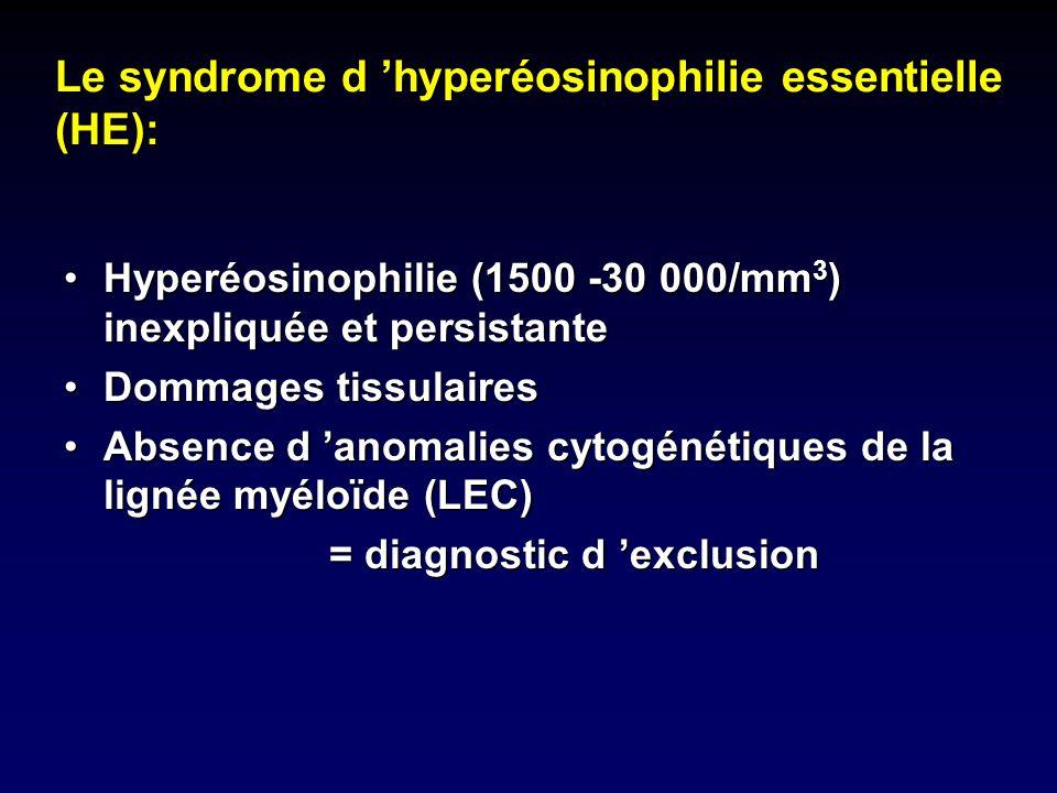 Hyperéosinophilie (1500 -30 000/mm 3 ) inexpliquée et persistanteHyperéosinophilie (1500 -30 000/mm 3 ) inexpliquée et persistante Dommages tissulaire