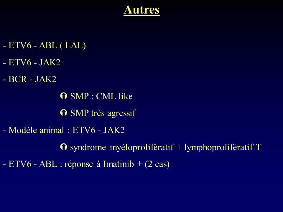 Autres - ETV6 - ABL ( LAL) - ETV6 - JAK2 - BCR - JAK2 SMP : CML like SMP très agressif - Modèle animal : ETV6 - JAK2 syndrome myéloprolifératif + lymp