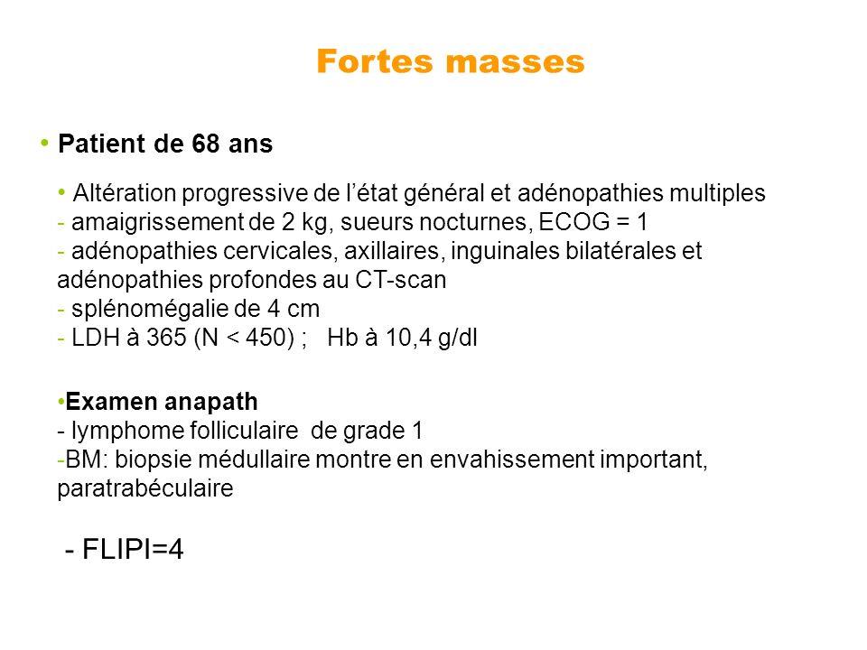 Patient de 68 ans Altération progressive de létat général et adénopathies multiples - amaigrissement de 2 kg, sueurs nocturnes, ECOG = 1 - adénopathie