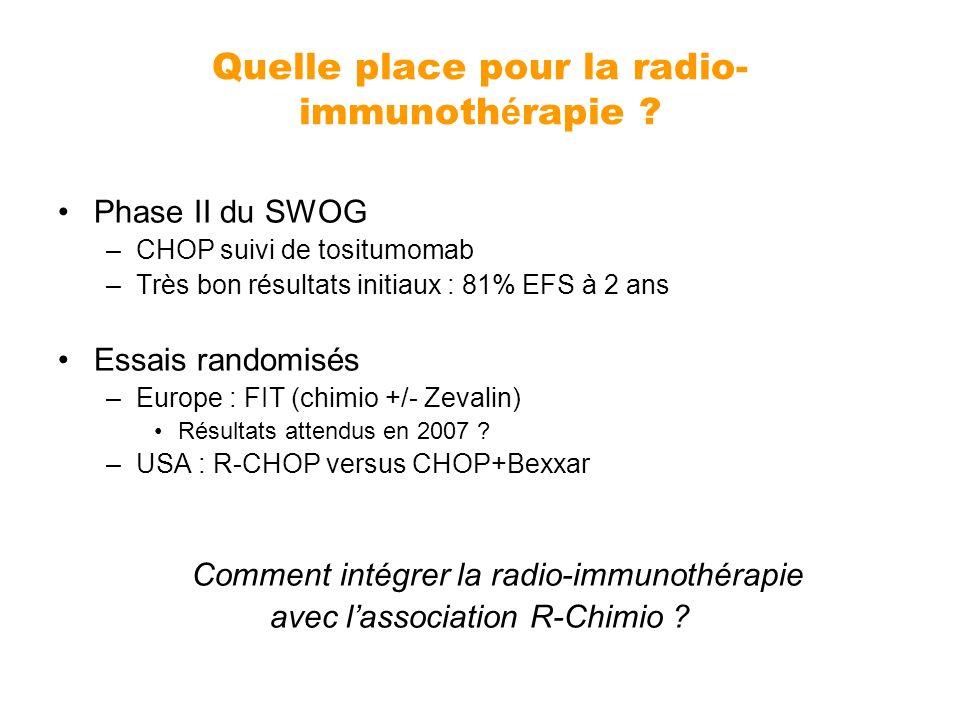Quelle place pour la radio- immunoth é rapie ? Phase II du SWOG –CHOP suivi de tositumomab –Très bon résultats initiaux : 81% EFS à 2 ans Essais rando