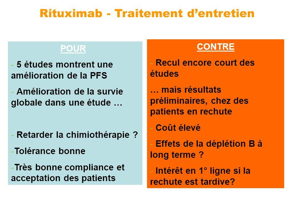 Rituximab - Traitement dentretien POUR - 5 études montrent une amélioration de la PFS - Amélioration de la survie globale dans une étude … - Retarder