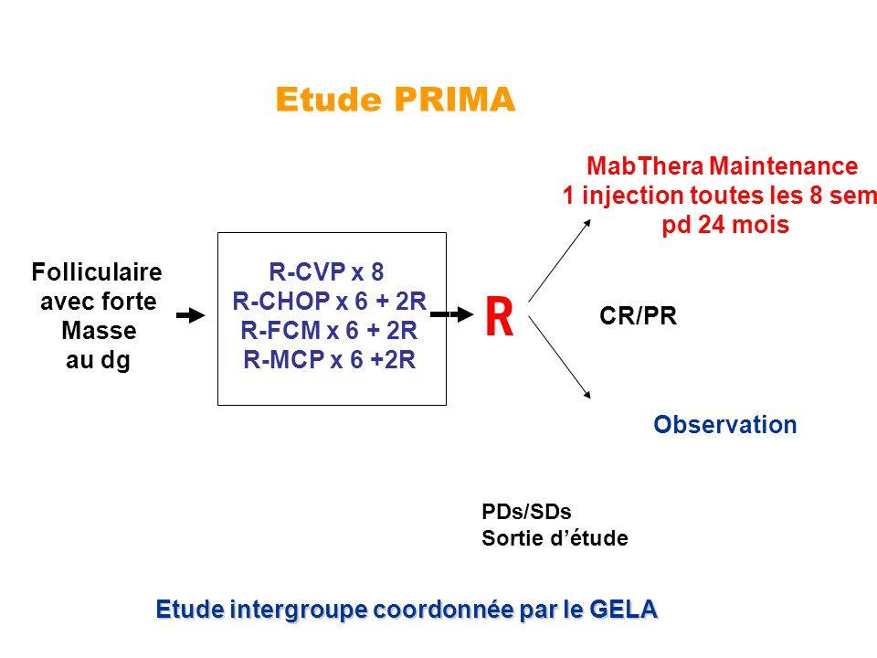Etude PRIMA PDs/SDs Sortie détude MabThera Maintenance 1 injection toutes les 8 sem pd 24 mois Observation R CR/PR Etude intergroupe coordonnée par le