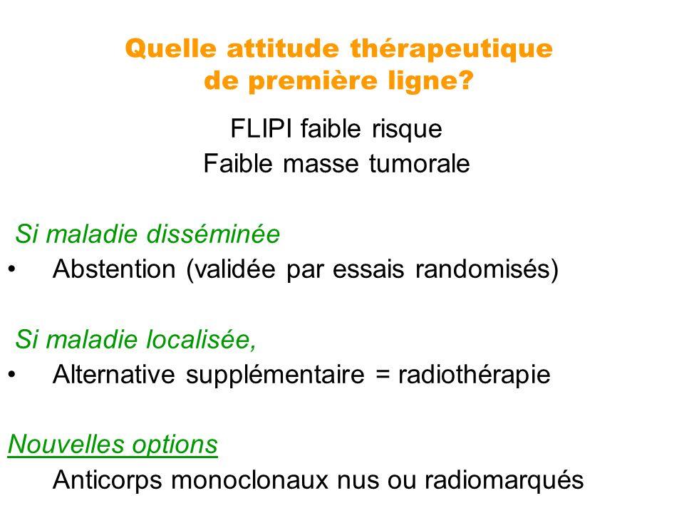 Quelle attitude thérapeutique de première ligne? FLIPI faible risque Faible masse tumorale Si maladie disséminée Abstention (validée par essais random