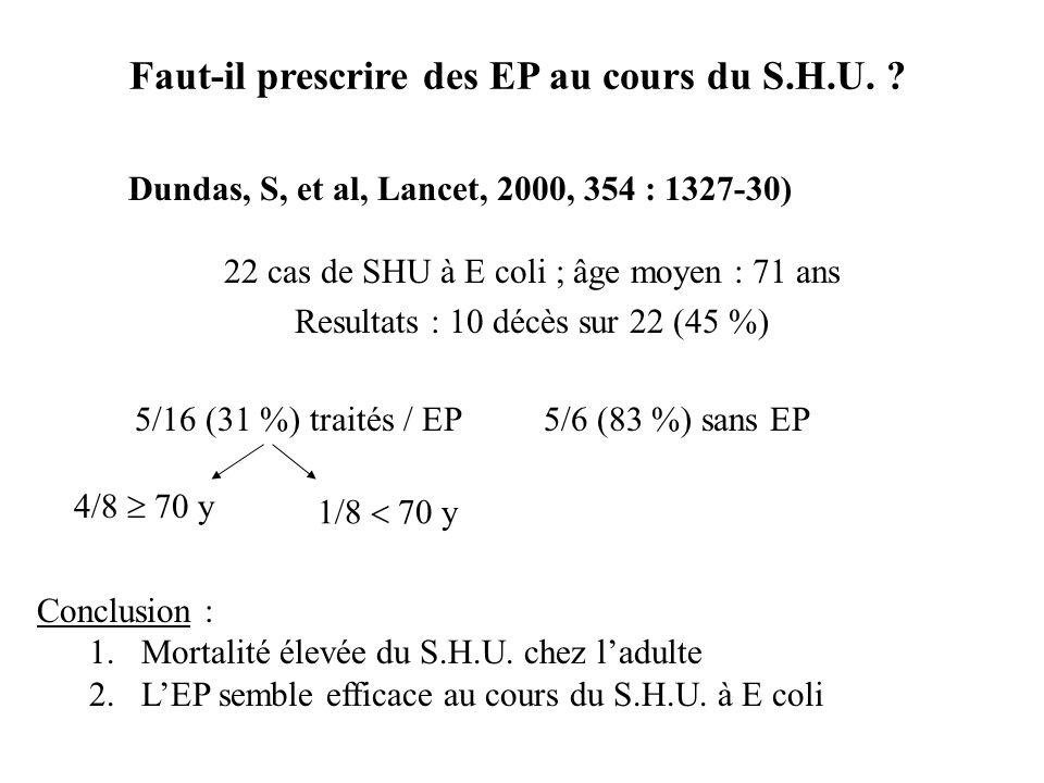 Dundas, S, et al, Lancet, 2000, 354 : 1327-30) 22 cas de SHU à E coli ; âge moyen : 71 ans Resultats : 10 décès sur 22 (45 %) 5/6 (83 %) sans EP5/16 (