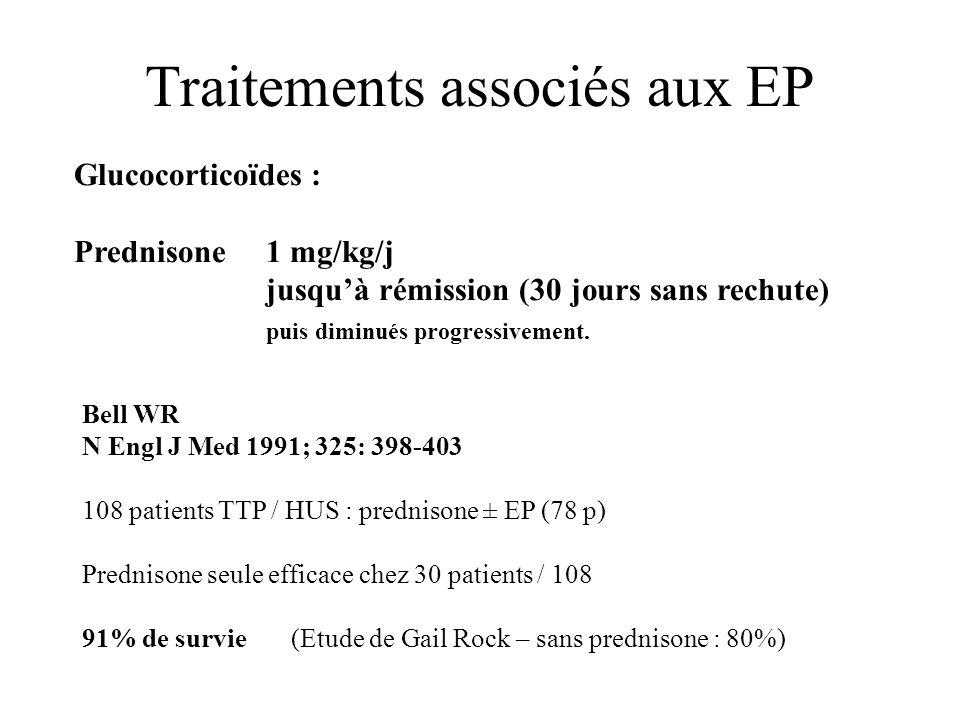 Traitements associés aux EP Glucocorticoïdes : Prednisone 1 mg/kg/j jusquà rémission (30 jours sans rechute) puis diminués progressivement. Bell WR N