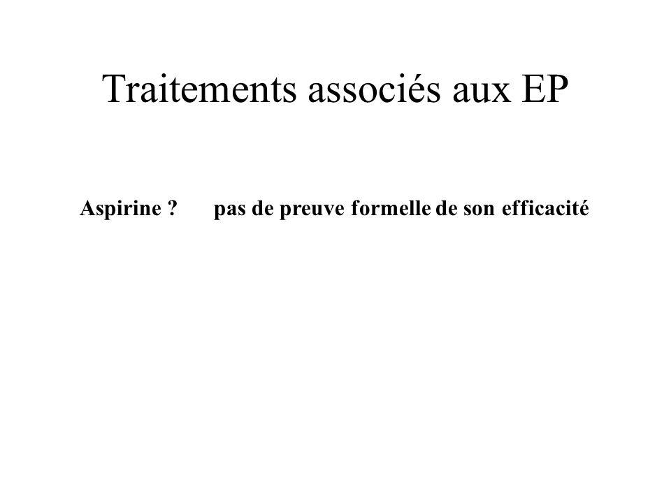 Traitements associés aux EP Aspirine ? pas de preuve formelle de son efficacité