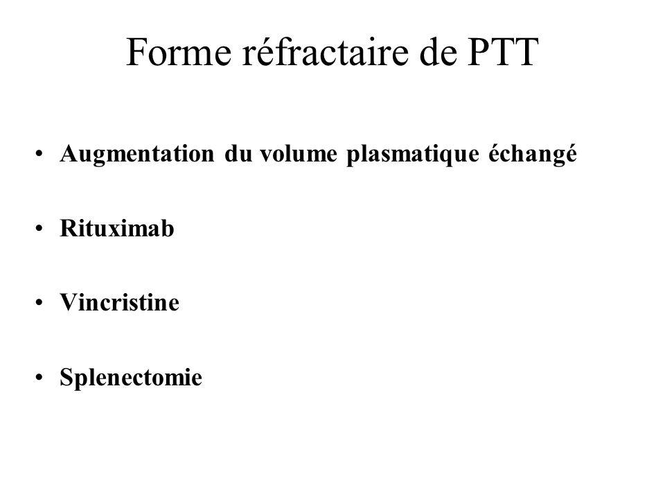 Forme réfractaire de PTT Augmentation du volume plasmatique échangé Rituximab Vincristine Splenectomie