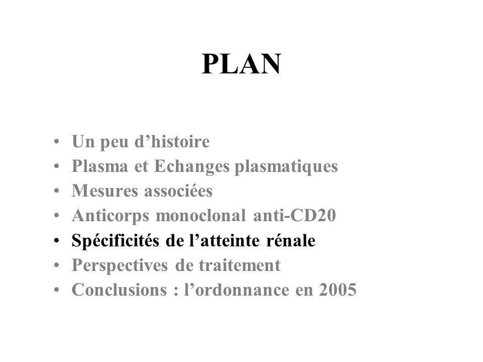 PLAN Un peu dhistoire Plasma et Echanges plasmatiques Mesures associées Anticorps monoclonal anti-CD20 Spécificités de latteinte rénale Perspectives d