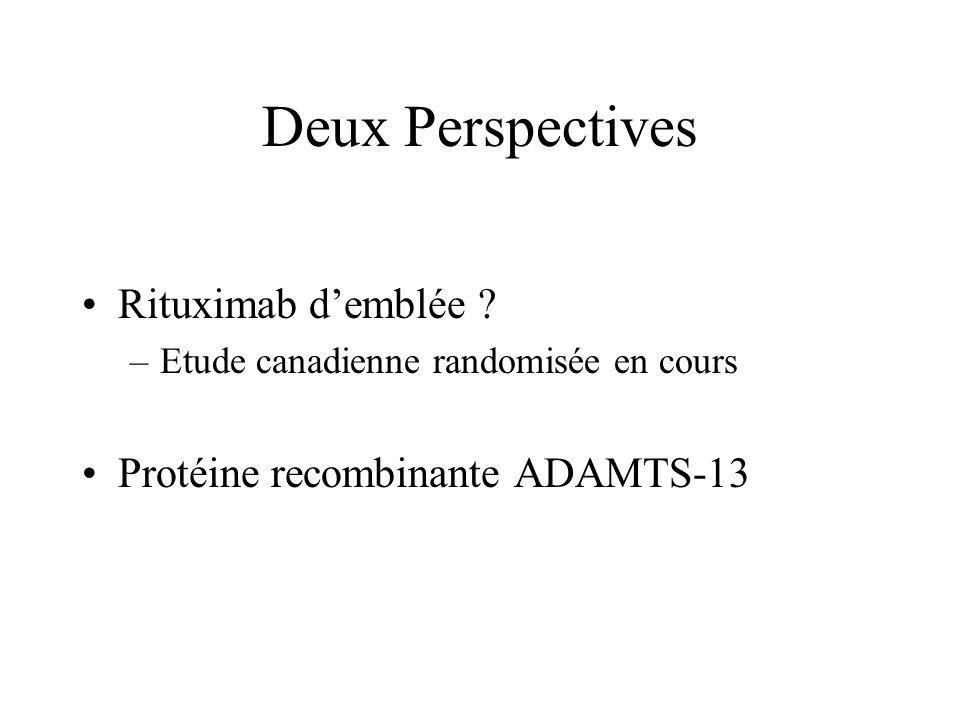Deux Perspectives Rituximab demblée ? –Etude canadienne randomisée en cours Protéine recombinante ADAMTS-13