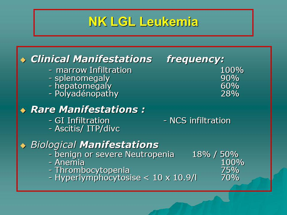 NK LGL Leukemia Clinical Manifestations frequency: Clinical Manifestations frequency: - marrow Infiltration 100% - splenomegaly 90% - hepatomegaly 60%
