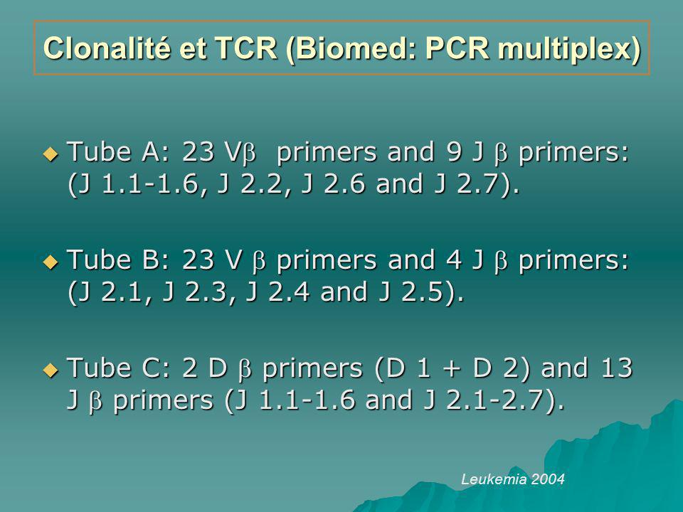 Clonalité et TCR (Biomed: PCR multiplex) Tube A: 23 V primers and 9 J primers: (J 1.1-1.6, J 2.2, J 2.6 and J 2.7). Tube A: 23 V primers and 9 J prime