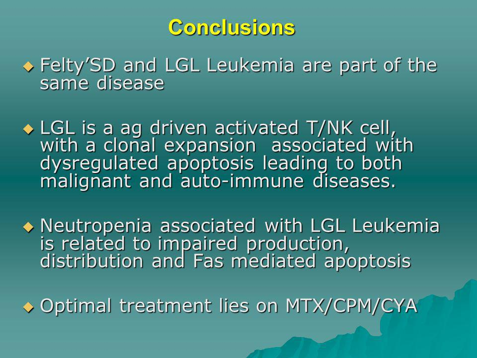 Conclusions FeltySD and LGL Leukemia are part of the same disease FeltySD and LGL Leukemia are part of the same disease LGL is a ag driven activated T