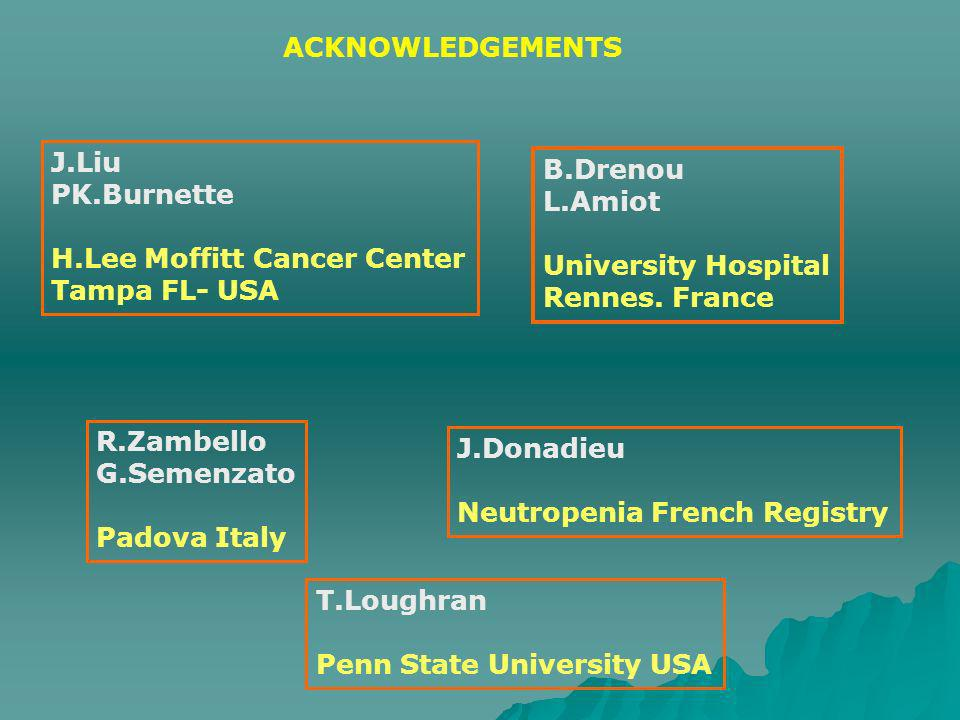 ACKNOWLEDGEMENTS J.Liu PK.Burnette H.Lee Moffitt Cancer Center Tampa FL- USA R.Zambello G.Semenzato Padova Italy B.Drenou L.Amiot University Hospital