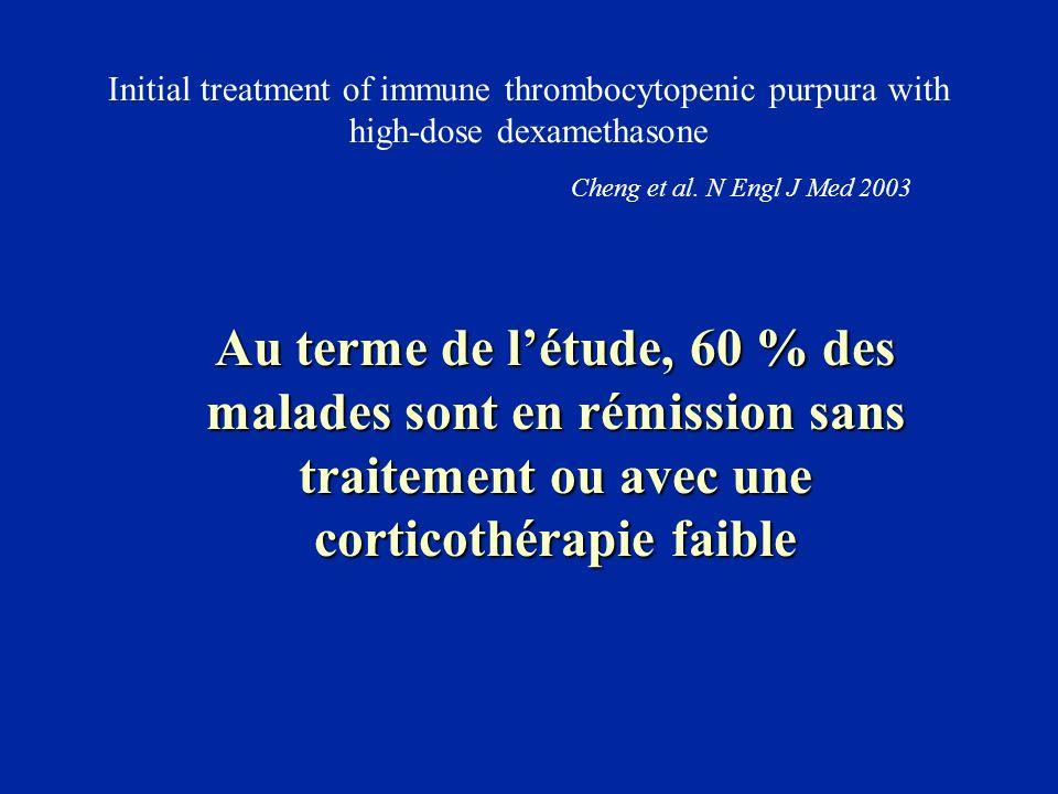 Initial treatment of immune thrombocytopenic purpura with high-dose dexamethasone Cheng et al. N Engl J Med 2003 Au terme de létude, 60 % des malades