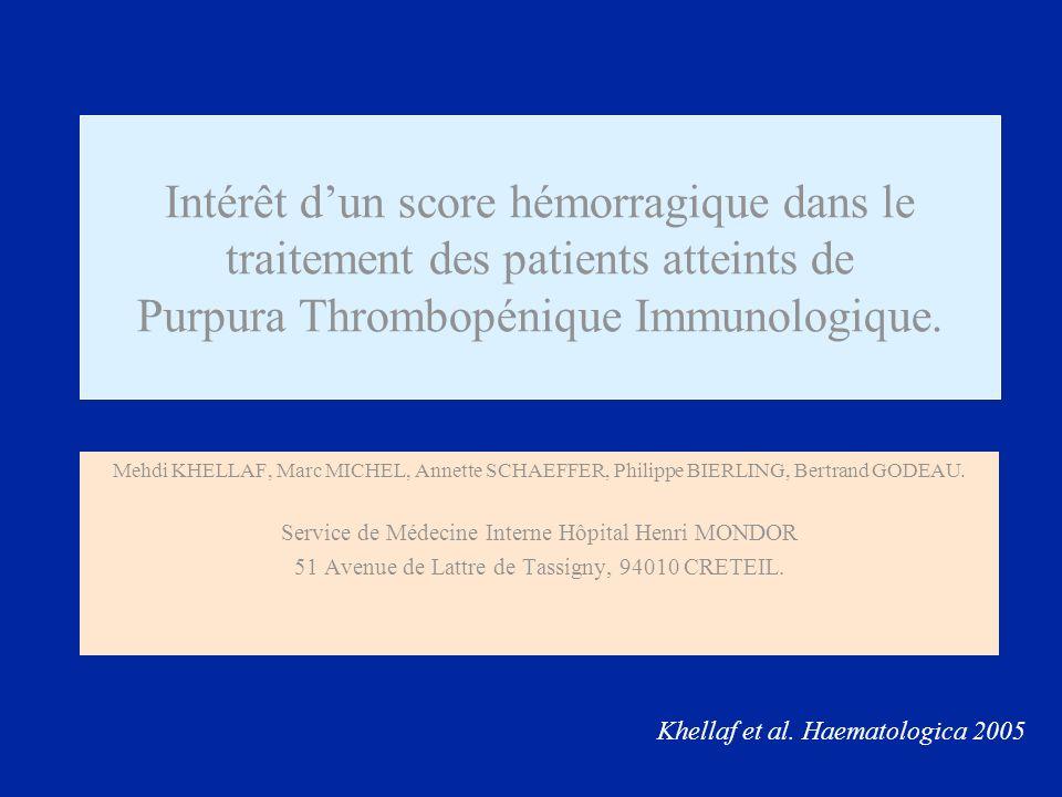 + 9 9 = Age > 65 ans Age > 75 ans 2525 Ménométrorragies sans déglobulisation Ménometrorragies avec – 2 g dHb 4 10 Purpura cutané localisé* Purpura ecchymotique localisé* Purpura pétéchial 2 localisations (ex : Thorax+jambes)* Purpura généralisé ou extensif sous traitement* Purpura ecchymotique diffus* 1223412234 Hémorragie digestive sans perte Hb Hémorragie digestive avec – 2g Hb ou choc 5 15 Epistaxis unilaterale* Epistaxis bilaterale* 2323 Saignement au fond dœil Hémorragie cerebromeningée 5 15 Lésion purpurique intrabuccale isolée Bulles hémorragiques endobuccales et/ou gingivorragies 2525 Hématurie macroscopique Hématurie macroscopique avec perte Hb > 2g/dl 4 10 Exemple de score pour un patient 4 5