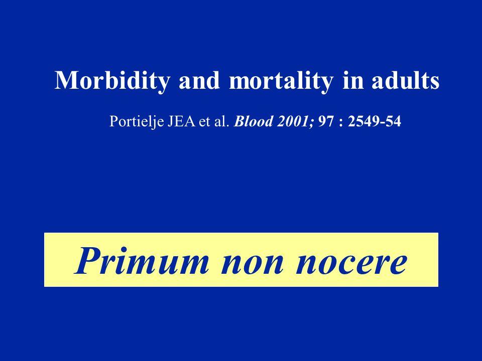Evolution ° 4 décès précoces (< 2 ans) - 1 hémorragie - 3 sepsis (BGN, 2; CMV, 1) ° 134 malades avec plus de 2 ans d évolution: - 114 malades, plaquettes > 30 10 9 /L sans Tt - 8 malades, plaquettes > 30 10 9 /L avec Tt - 12 malades (9%), plaquettes < 30 10 9 /L Portielje JEA et al.