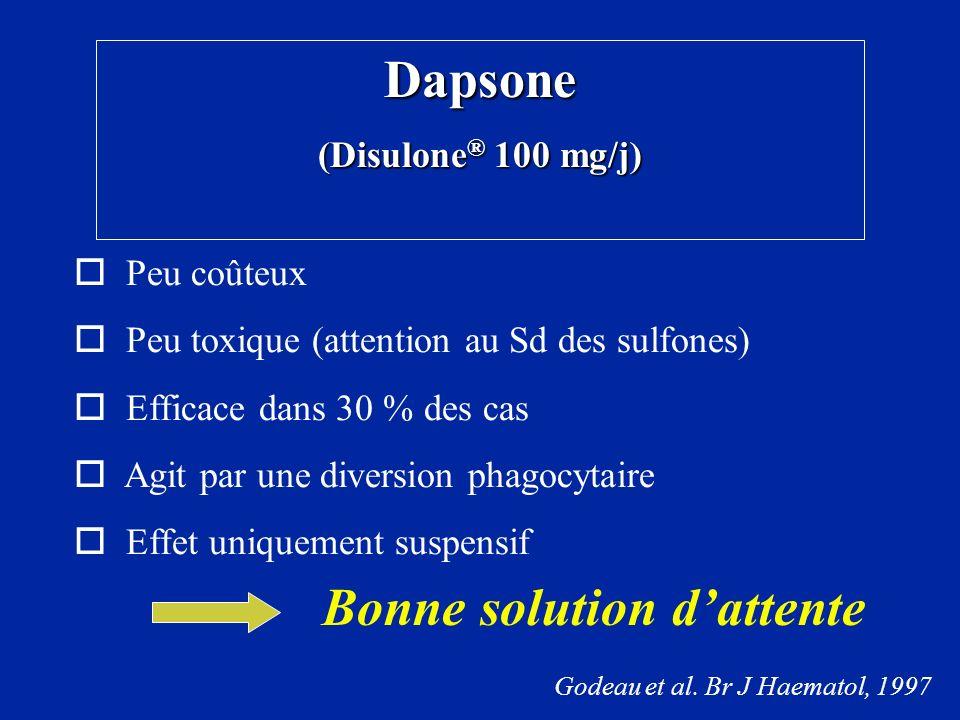 Dapsone (Disulone ® 100 mg/j) Peu coûteux Peu toxique (attention au Sd des sulfones) Efficace dans 30 % des cas Agit par une diversion phagocytaire Ef