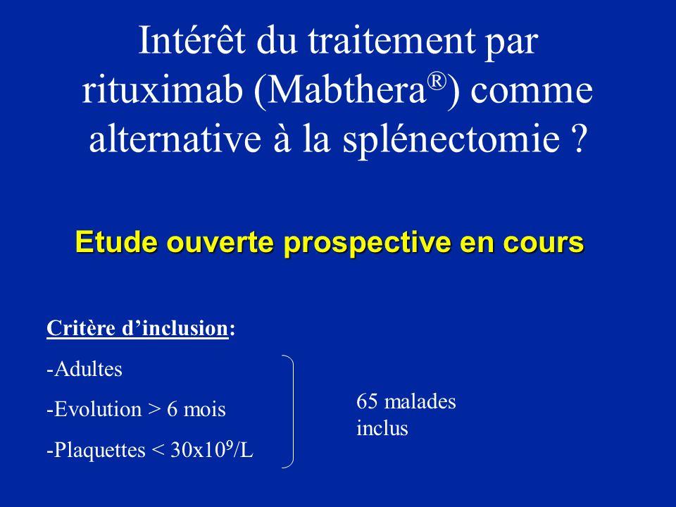 High-dose cyclophosphamide with autologous lymphocyte- depleted peripheral blood stem cell support for treatment of refractory chronic autoimmune thrombocytopenia Huhn RD et al, Blood 2002 - 14 patients, PTAI chronique réfractaire - 5 Sd d Evans - Tous splénectomisés - Greffe cellules souche CD34+ (suppression LB, LT) - Mobilisation par G-CSF - Immunosuppression: CPM 50 mg/kg J1, J2, J3, J4