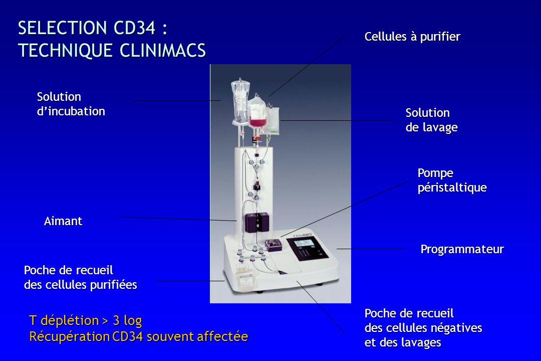 SELECTION CD34 : TECHNIQUE CLINIMACS Solutiondincubation Cellules à purifier Poche de recueil des cellules purifiées Poche de recueil des cellules négatives et des lavages Aimant Pompepéristaltique Programmateur Solution de lavage T déplétion > 3 log Récupération CD34 souvent affectée